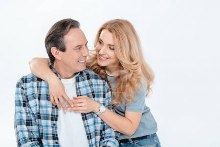 Photo for Front view of man and blonde woman embracing and smiling  isolated on white - Royalty Free Image