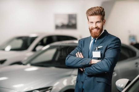 salesman in dealership salon