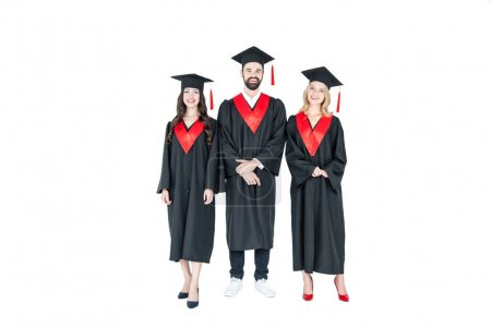 Happy students in mortarboards