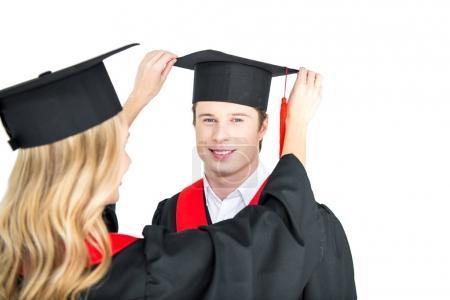girl fixing graduation cap