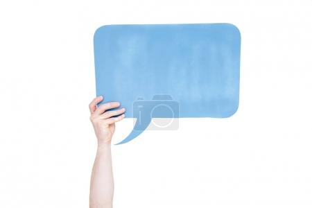 Photo for Person holding blue empty speech bubble with copy space isolated on white - Royalty Free Image