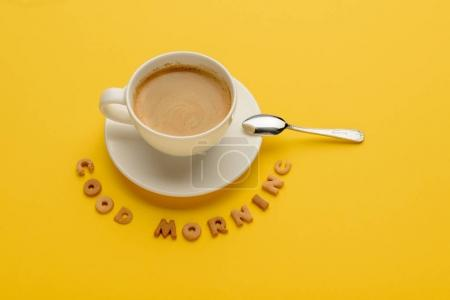 Photo for Close-up view of cup of fresh hot coffee and good morning inscription - Royalty Free Image