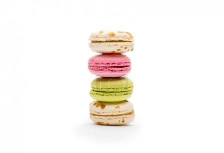 Photo for Front view of sweet various macaroons isolated on white - Royalty Free Image