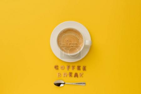 Photo for Top view of cup of espresso coffee, spoon and coffee break lettering - Royalty Free Image