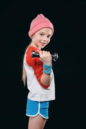 Photo for Girl training with dumbbells isolated on black. action sport concept - Royalty Free Image