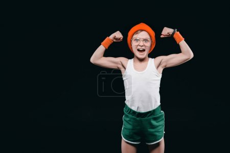 Photo for Boy posing in sportswear isolated on black. 12 year old kids and active kids concept - Royalty Free Image