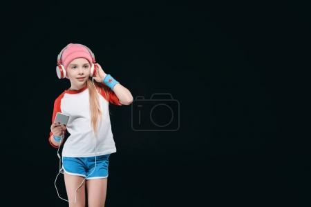 Sporty girl in headphones