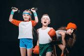 Active kids with sport equipment