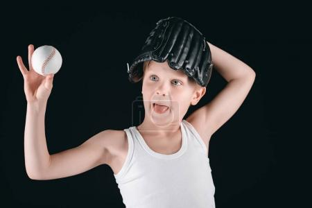 boy with baseball equipment