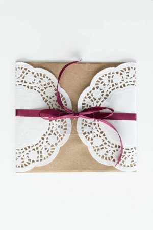 envelope with lace and ribbon