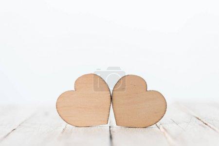 Wooden hearts symbols