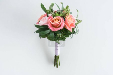 Photo for Close-up view of beautiful bouquet of roses and succulents isolated on white - Royalty Free Image