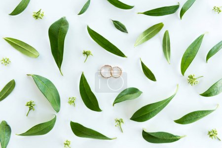 Wedding rings and green leaves