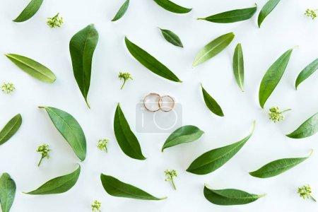 Photo pour Vue rapprochée de la composition de mariage magnifique avec anneaux dorés et vert feuilles, fond de bagues de mariage - image libre de droit
