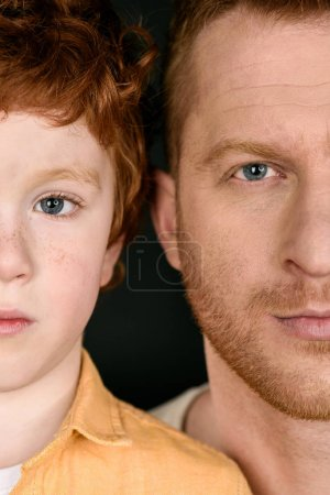 Redhead father with son