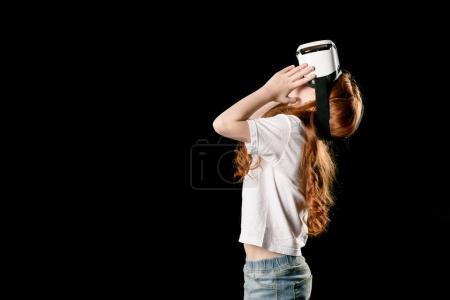 Girl in virtual reality headset