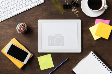 digital tablet on home office table