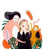 "Постер, картина, фотообои ""Девушка с мифическими героями"""