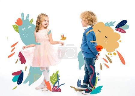 Photo pour Couple affectueux mignon entouré d'une illustration dessinée à la main par une fée - image libre de droit
