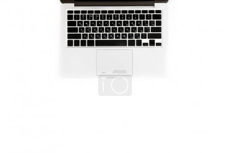 Photo for Flat lay with laptop computer isolated on white with copy space, wireless communication concept - Royalty Free Image