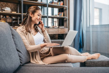 Businesswoman remote working at home