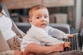 baby boy sitting exploring laptop