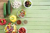 Fresh raw vegetables on table