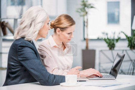 Photo for Two businesswomen with laptop discussing business project on meeting in office - Royalty Free Image