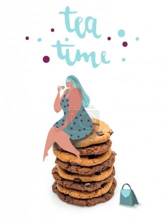 Fat woman sitting on stack of cookies
