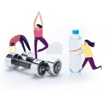 people doing sport exercises on dumbbells