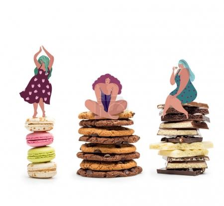 fat women on piles of sweets