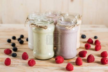 various fresh berry milkshakes