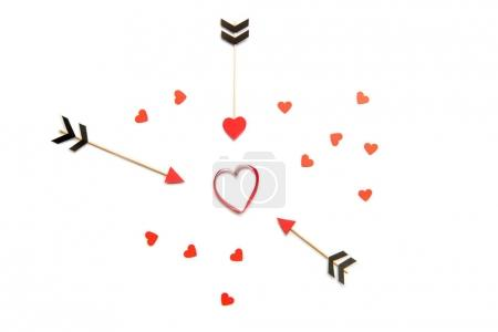 red hearts and amour arrows