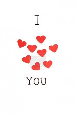 Photo pour Je t'aime, je t'aime. Inscription dessinée à la main avec groupe de cœurs rouges isolés sur blanc - image libre de droit