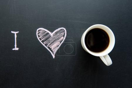 heart doodle and cup of coffee
