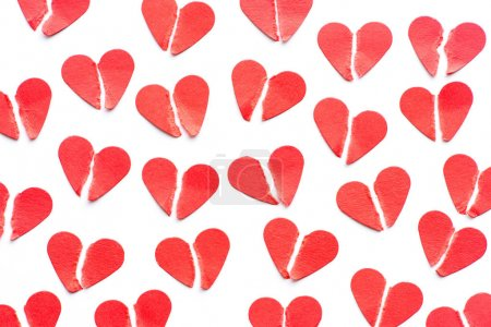 Photo for Festive background made from heap of broken red hearts - Royalty Free Image