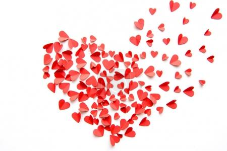 Photo for Big heart sign made from red hearts isolated on white. Valentines day concept - Royalty Free Image