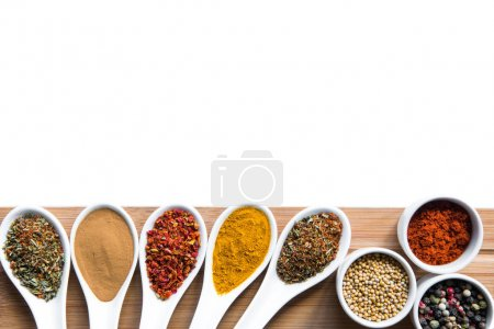 spices and herbs in spoons snd bowles on tabletop