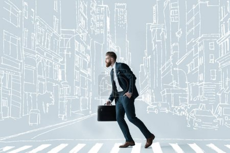 Photo for Side view of stylish bearded businessman running with briefcase on drawn crosswalk at drawn city - Royalty Free Image