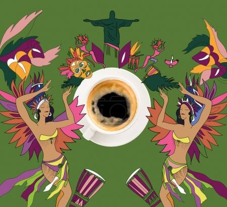 coffee with colorful brazilian theme