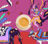 coffee with colorful indian theme