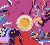 """Постер, картина, фотообои """"кофе с красочных индийских тема"""""""