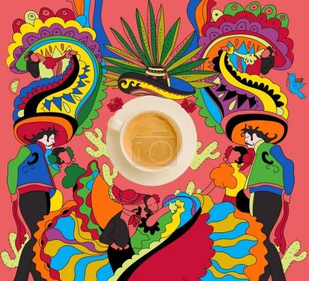 Photo for Top view of cup of fresh hot coffee with colorful mexican theme - Royalty Free Image