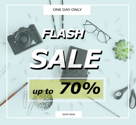 Photo for Flash sale banner template with discount 70 percent and office supplies - Royalty Free Image