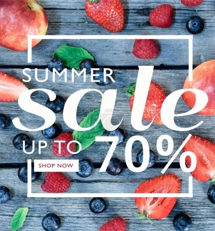 Photo for Summer sale banner template with discount 70 percent and fruits - Royalty Free Image