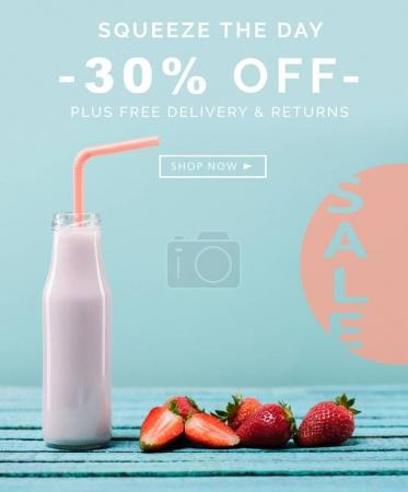Sale banner with milkshake and strawberries