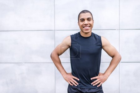 cheerful african american sportsman