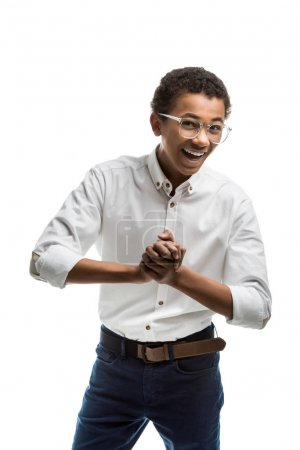 excited african american teenager