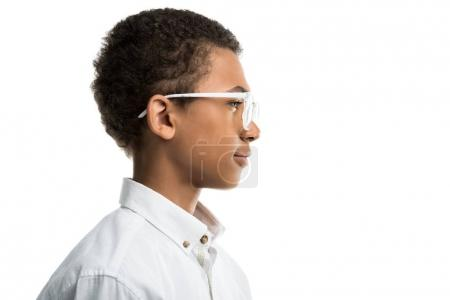 african american teenager in eyeglasses