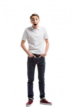 shocked caucasian teenager